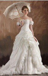 Wholesale Taffeta Bridal Sash Applique - Vintage Gothic Strapless Ball Gown, Lace Appliques Sequin Handmade Flowers And Ruffles Chapel Train Bridal Gown Prom Dresses