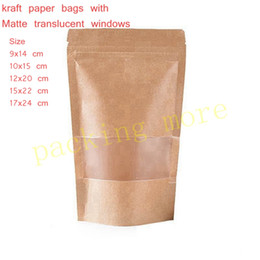 Wholesale Translucent Square Plastic - Wholesale- 50pcs lot,small Stand up Zipper lock Kraft paper packaging bag with Matte translucent window PE inside kraft paper pouch