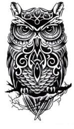 Dessins de peinture pour le corps en Ligne-Grand hibou bras tatouages temporaires pâtisserie 3D noir faux autocollants de tatouage transfert hommes cool conceptions imperméables peinture de l'art corporel