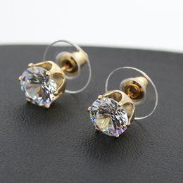 Wholesale Earring Cz Round - Earrings for Women Wholesale Brand Fashion Jewelry Gold Filled Round Zirconia Purple White CZ Diamond Stud Earring