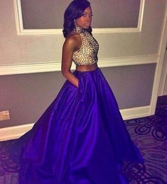 Wholesale Print Red Dresses For Evening - 2016 Two Pieces Beads Bodice Prom dresses for Black Girl High Neck Sleeveless Purple Skirt Evening Dresses
