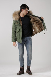 Wholesale Stylish Army Hats - Fall-New arrival male down parka in army green with natural fake fur lined UK stylish Mr and Mrs fur coat