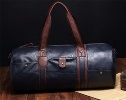 Wholesale Man Leather Handbag Black Big - 2017 High Quality Men Travel Bags Leather Duffle Bag Vintage Men Tote Shoulder Handbags Weekend Bags Large Big Bag