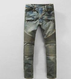 Wholesale Mens Cotton Leisure Trousers - Fashion Famous Jeans Autumn winter Pop Mens Biker Jeans Classic Design Motorcycles Jeans Vintage Travel Leisure Denim Trousers