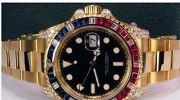 rubine beobachten Rabatt Luxusuhr-Uhr schwarzes Zifferblatt Saphir Rubin Diamant Lünette 116758 UHR CHEST Armbanduhr