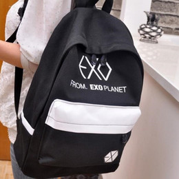 Wholesale School Exo - Free Shipping Exo school bags New 2016 preppy style canvas backpacks female male student backpack men women printing school bag