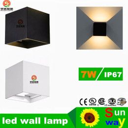 Wholesale Aluminum Brief - Modern Brief Cube Adjustable Surface Mounted 7W LED Wall Lamp Outdoor Waterproof IP65 Aluminum Wall Lights Garden Light Sconce