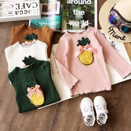 Wholesale Girls Tees Bows - Autumn Cute Girls Tee Shirt Korean pineapple Long Sleeve Children T-shirt Cute Fruit Bow Kids Tops Girl Clothes C2022