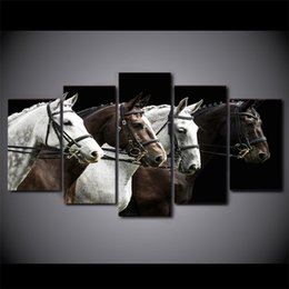 Wholesale Oil Painting Horses Racing - 5 Pcs Set Framed Printed Black And Brown Horse Race Painiting Home Wall Decor Canvas Picture Art HD Print Painting Artworks