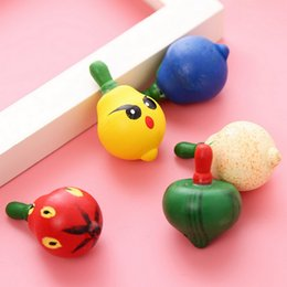 Wholesale Wooden Toys Spinning Top - Wholesale- 10pcs   Lot Classic Spinning Tops For Boys Girls Kawaii Wooden Fruit Gyroscope Colorful Hand Spinner School Children Toys