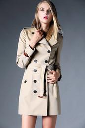 Wholesale High Waist Khaki - Hot Classic! women fashion british double breasted trench coat high quality brand England designer trench for women size S-XXL Khaki, black