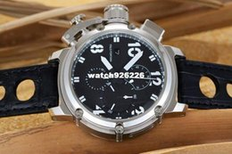 Wholesale 48mm Quartz - hot selling 48mm Large dial watch men's leather stainless steel case Multifunction chronograph quartz Watches