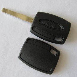 Wholesale blank chip keys - Best FORD 4D63 transponder key shell ford key blank key case FOB key cover no chip with logo free shipping