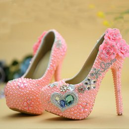 Wholesale Diamond Pearl Wedding Shoes - Blue Diamond Pink Pearl High Heel Wedding Shoes Adult Ceremony Party Ball Shoes New Designer Rhinestone Graduation Prom Pumps