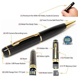 Wholesale Spy Gadget Audio - Spy Pen Hidden Camera Motion Activated Audio Video Recorder Pen Spy Gadget HD Micro Camera 50pcs lot