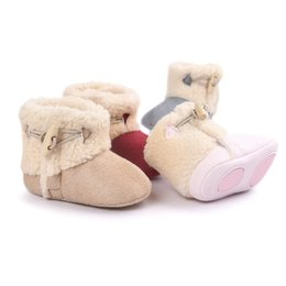 Wholesale Pink Newborn Booties - Wholesale- 2016 Winter PU leather baby boy snow boots for girl Newborn warm shoes infant toddler soft sole First Walkers booties brand