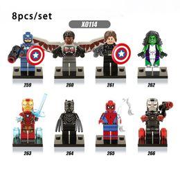 Wholesale Black Plastic Blocks - 8pcs set Super Hero Captain America 3 Civil War She-Hulk Black Panther War Machine Minifigures Building Blocks Bricks Kids Toys legoe