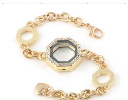 Medallones cuadrados online-Nueva prueba de agua Square Glass DIY medallones pulsera de plata Living Living Locket de acero inoxidable colgante pulsera