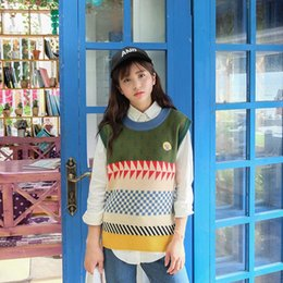 Wholesale Colorful Knitted Vest - Wholesale-2015 winter HALAJUKU new fashion colorful cute college wind sweater vest