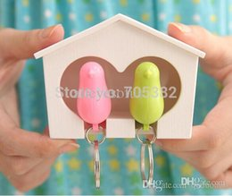 Wholesale Couple Sparrow Key Ring - Wholesale-Sparrow key ring with whistle with birds' nest hang on the wall, Couple Bird Keychain, Fancy gift (tt-1207)