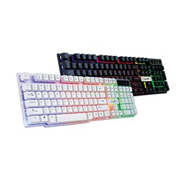 Wholesale Desktop Computer Home Pc - Computer LOL DOTA backlight LED keyboards for laptop PC Phelps FV - Q3A colorful glowing crystal game suspension home office keyboard 2016