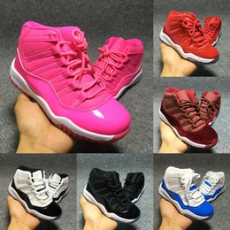 Wholesale Boys Baby Gifts - Retro 11 Space Jam Basketball Shoes Boy Girl Trainer Sneakers Children Athletic Shoes Kids Sport Shoe Baby Cute Birthday Gift Red Pink Blue
