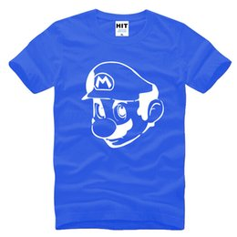 Wholesale Gray Mario - Super Mario Supermario Anime Mens Tshirt 2016 New Short Sleeve O Neck Cotton Casual T-shirt Tee Camisetas Hombre