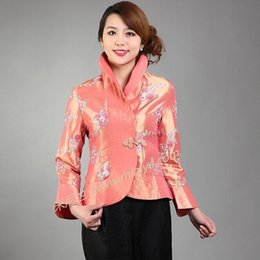 Wholesale Chinese Women Tang Suit - Autumn New Orange Pink Lady Silk Outwear Chinese Classic Single One Button Tang Suit Embroidered Flower Coat Size S To XXXL