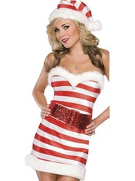 Wholesale Adult Red Christmas Dresses - Free Shipping Xmas Fancy Dress Sexy Unusual Adult Christmas Candy Cane Sparkle Knit Dress Costume W204017