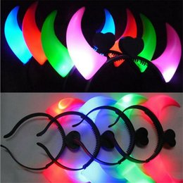 Wholesale Devil Light Headband - LED Devil OX Horns Hair Clip HeadBand Hairpin Headwears led Light Cheering Rave Toys christmas halloween wear decorations EMS free