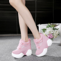 Wholesale High Wedge Hidden Heels - Women hidden wedge Ultra High Heels 12cm Women's Elevator Shoes Casual Wedges Lady Party Shoes Women Wedge Heel platform shoes
