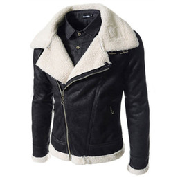 Wholesale Black Leather Bomber Jackets - Fall-Super Warm Winter Liner Men Faux Fur Bomber Leather Jacket Men Fashion Collar Motorcycle Suede Coat Chaqueton Hombre