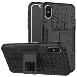 Wholesale Bag Accessories Stand Wholesale - For iPhone X 2 in 1 Kick Stand Phone Case TPU PC Fashion Black iPhone Back Cover with Holder Silicone Cell Phone Accessories OPP Bag