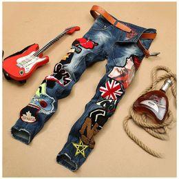 Wholesale Badge Embroidery Designs - Men's Patchwork Denim Blue Jeans Locomotive Pants Embroidery Beauty Badge Cool Stylish Design Skinny Straight Slim Pants 29-38