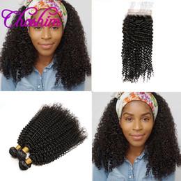 Wholesale Kinky Curly Brazillian Hair - Choshim Slove Hair Silk Base Closure with 3or4 Bundles kinky Curly With Silk Closure10A Brazilian Remy Hair Brazillian Hair With Silk