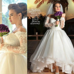 Wholesale Simple Ankle Length Sweetheart - Saudi Arabia Wedding Dresses 2016 Sweetheart Off Shoulder Long Sleeves Beads Organza Ankle Length Hi-Lo Bridal Gowns dhyz 02