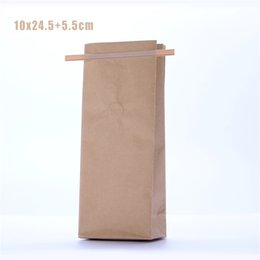 Wholesale 5 x25cm g Block Bottom Coffee Bags Snack Food Packaging Kraft Tin Tie Coffee Bags With Valve