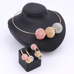 Wholesale Crystal Ball Necklace Earrings - Color African Beads Jewelry Sets For Women Gold Plated Wedding Party Accessories Bohemia Hollow Ball Pendents Necklace Earring