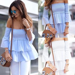 Wholesale Chiffon Ruffled Off Shoulder Top - Summer Women Sexy Off Shoulder Tops 2018 Fashion Ruffles Flare Sleeves Blouses Casual Tops Party evening Shirt Blusas feminina chemise new