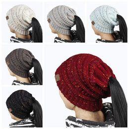 Wholesale Wholesale Winter Ski Hats - Ponytail Stretchy Knitted Beanie Cap 21*21cm Women Winter Warm Hole Ski Hat High Bun Hair Stretchy Beanies 20pcs LJJO3675