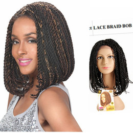 Wholesale Cheap Synthetic Lace Wigs Hair - synthetic hair bobo wig senegalese twists blonde wigs for black women synthetic lace front wigs short lace front wig cheap braids
