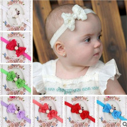 Wholesale Hair Pieces For Babies - flower girl hair piece Rose Pearl Butterfly Baby Elasticity headbands for girls Fashion Children hair bows Babies hair accessories H188