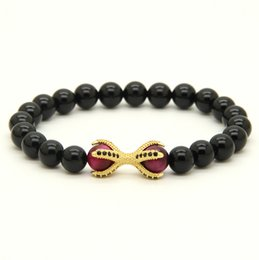Wholesale Eagle Claw Wholesale - Wholesale 10pcs lot Natural Black Onyx Stone with Roseo Tiger Eye Beads Micro Inlay Black CZ Beads Eagle Claw Beaded Bracelets