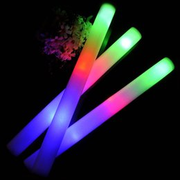 Wholesale Led Foam Stick Wholesale - LED Foam Stick Light 3 Modes MultiColor Changing flash Sticks glowing wands for Party Christmas Concert Toy free shipping