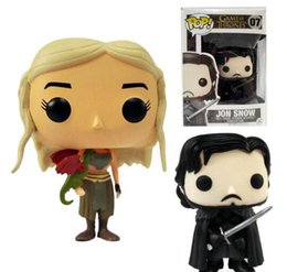 Wholesale Free Character Games - Free Shipping 2016 New Arrival Funko POP Game of Thrones: Daenerys Targaryen Action Figure Jon Snow 10cm 4'' GOT Character Doll