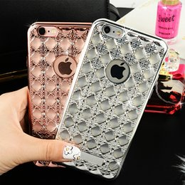 Wholesale Diamond Apple Logo - NEW Fashion Electroplate Diamond carnelian phone Soft cover Case with logo window for iphone 6 6s plus Samsung S6 edge S7 S7 edge DHL Free