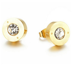 Wholesale Men White Gold Diamond Earring - Top quality 0.8cm round Stud Earrings for women men titanium steel brand bv earrings with big crystal diamond wholesale