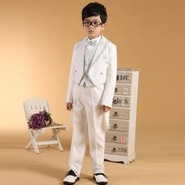 Wholesale White Wedding Suits For Boys - Wholesale-2016 white sequins Tailcoat boys wedding suits Prince baby boy suits for wedding Toddler tuxedos(Jacket+vest+pant)