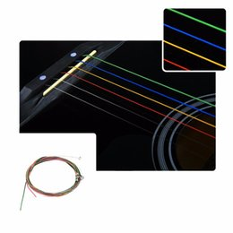 Wholesale E Acoustic Guitar - Wholesale- 2016 Multi Color 1-6 E B G D A E Rainbow Colorful Strings Set for Acoustic Guitar new arrival