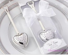 "Wholesale Tea Time Wedding Favors - Gift Box ""Tea Time"" Heart Tea Infuser Heart-Shaped Stainless Herbal Tea Infuser Spoon Filter Wedding favors gift"